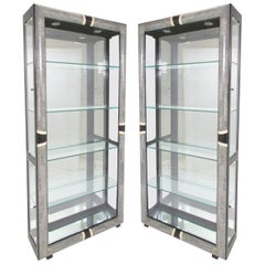 Pair of Art Deco Display Cabinets in Tessellated Stone