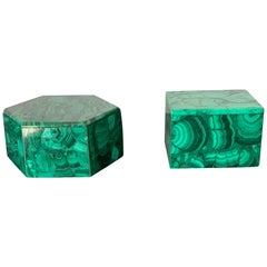 Set of Two Malachite Jewelry Boxes