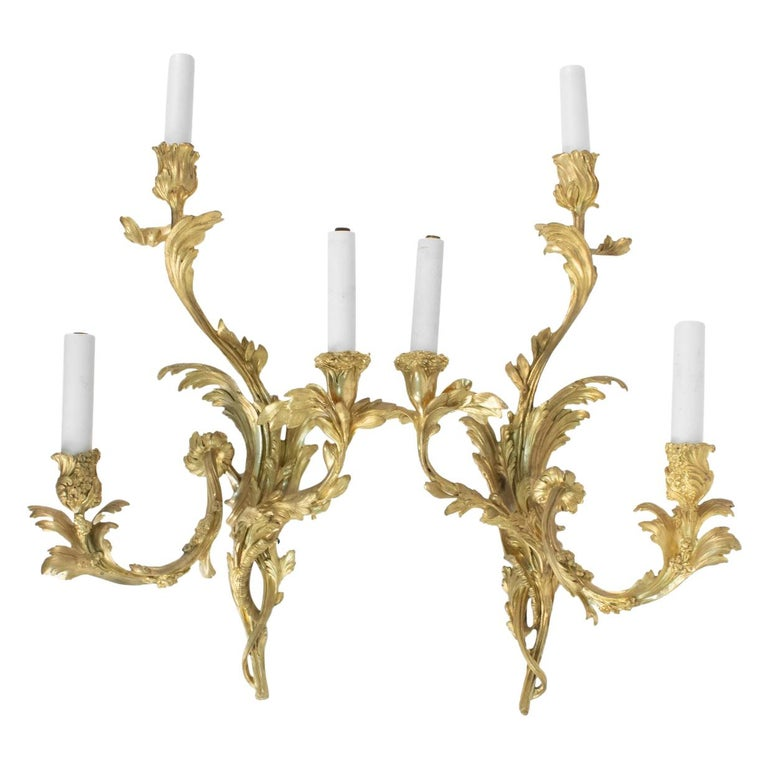 Pair of Gilt Bronze Sconces from the 19th Century in Louis XV Style For Sale