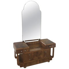 Art Deco Dressing Table in a Stunning Figured Walnut