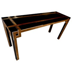 Fine 1970s Geometric Pattern Console Table, France, 1975