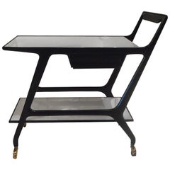 Black Lacquer Trolley With White Opaline Trays by Cesare Lacca