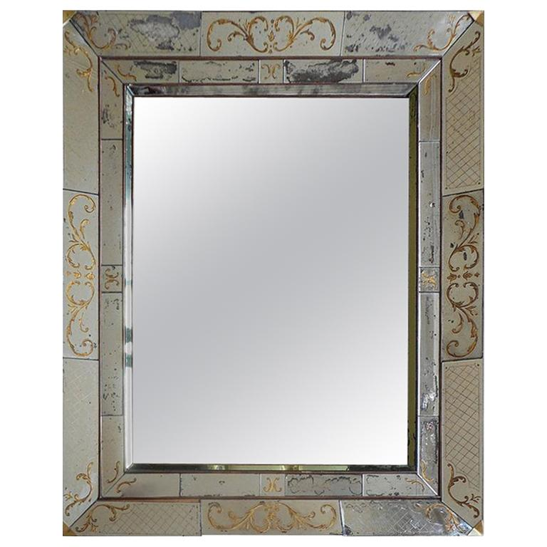 "Large French 1940s ""Églomisé"" Mirror from Maison Jansen For Sale"