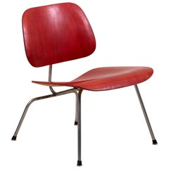Early LCM Chair in Rare Aniline Red by Charles Eames for Herman Miller