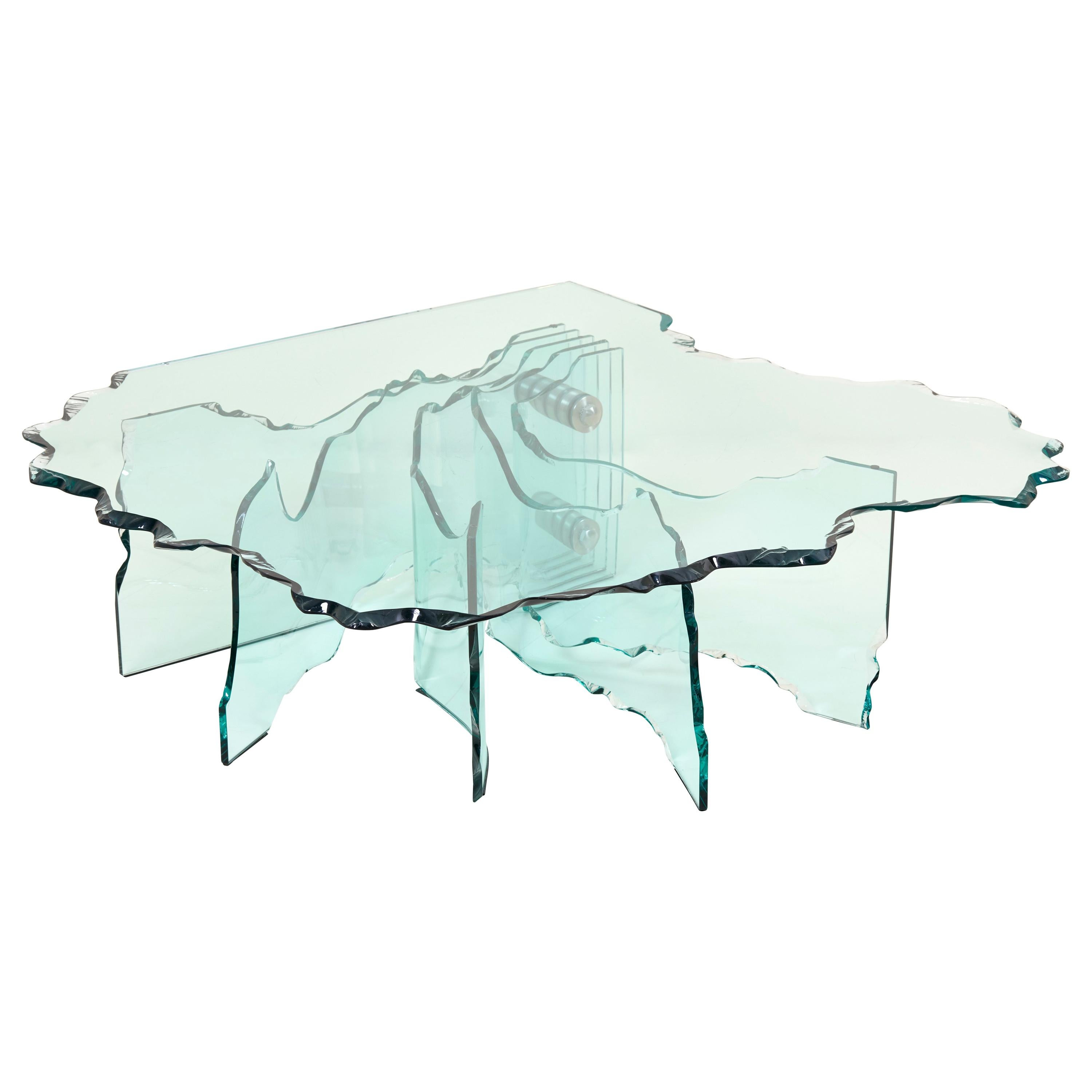Huge Crystal Cut Glass Shell Coffee Table by Danny Lane for Fiam