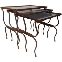 Set of Gilt Wrought Iron Nesting Tables, France, 1940