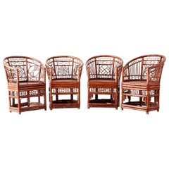 Set of Four Brighton Pavilion Style Bamboo Armchairs