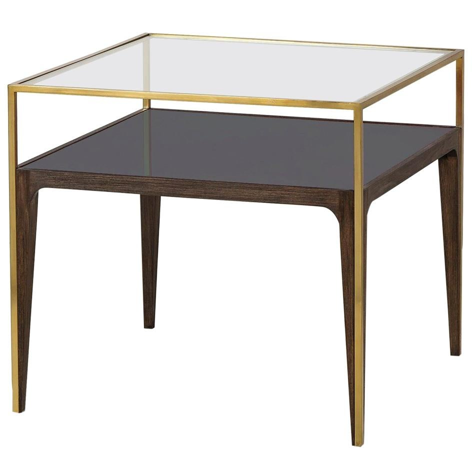 Accent Side Table With Smoked And Clear Glass Top