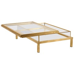 Huge Maison Jansen Sliding Top Coffee Table Complete in Brass