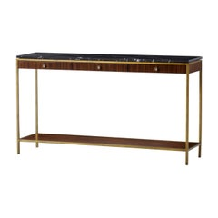 Carolina Console Table with Black Marquina Marble Top
