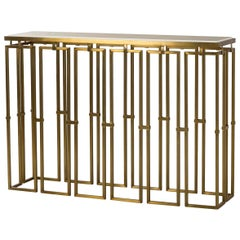 Frame Console Table in Vintage Brass Finish