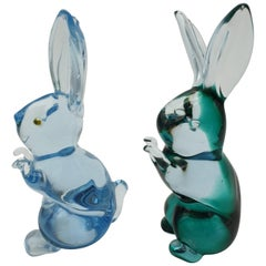Modern Murano Glass Bunnies Pair by Cenedese, 1980s