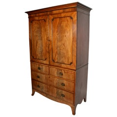 19th Century Regency Mahogany Tray Wardrobe / Press