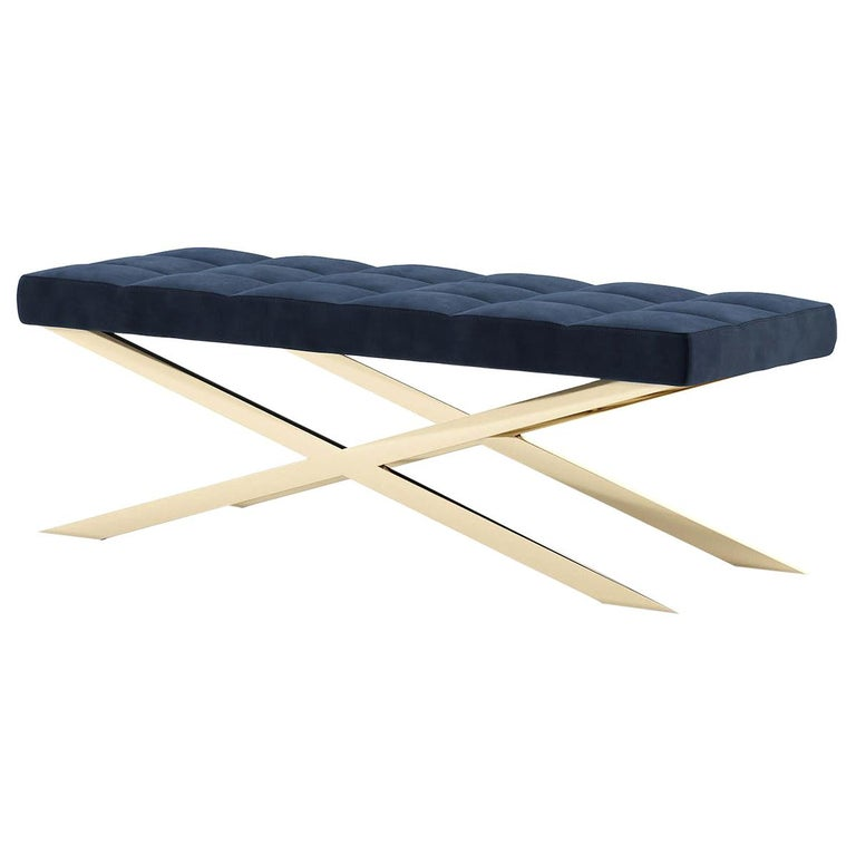 Hilton X Bench in Gold Finish For Sale