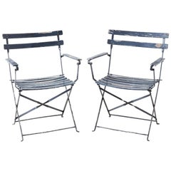 Pair of French Folding Slated Garden Chairs