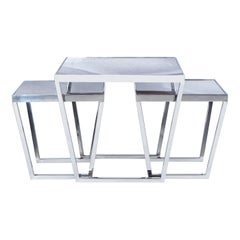 Printed Glass Set of 3 Coffee Tables