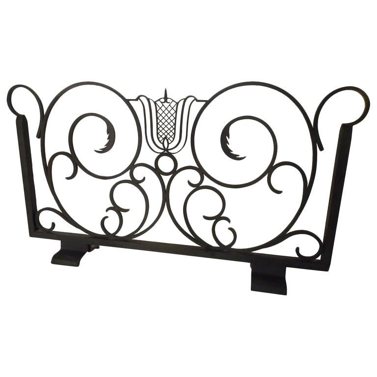 Raymond Subes Wrought Iron Firescreen, France, 1940 For Sale
