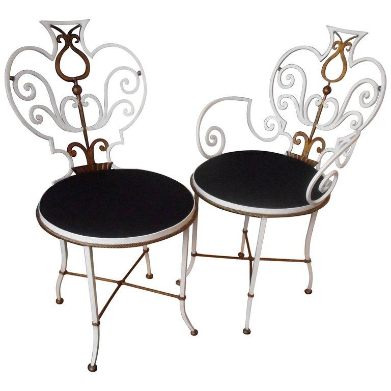 Pair of Garden Chairs by G. Poillerat For Sale