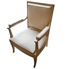 Elegant J. Quinet Ivory Lacquer Armchair, France 1948
