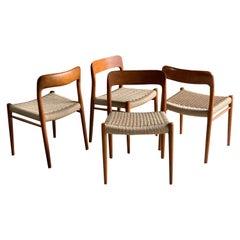 Niels Otto Møller Dining Chairs Set of 4 Model 75 JL Møller Møbelfabrik Danish