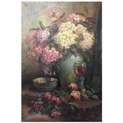 Cornelius 'Kees' Terlouw Oil on Canvas 'Flowers'