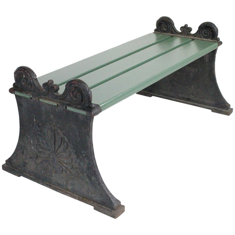 Swedish 1920s Cast Iron Park Bench Designed by Folke Bensow For Sale