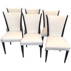 Art Deco Black Lacquered Wood and Ivory Velvet Italian Chairs, 1930s