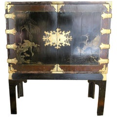 France Midcentury Chinoiserie Rectangular Cupboard, Finely Decorated