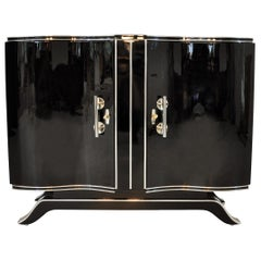 Art Deco Style High Gloss Commode with Big Chrome Handles