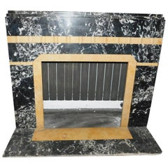 20th Century Antique Fireplace in Black Portoro Marble and Siena Yellow Art Deco