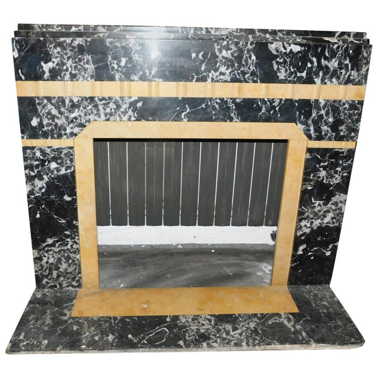 20th Century Antique Fireplace in Black Portoro Marble and Siena Yellow Art Deco For Sale