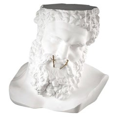 "Bust Ercole ""Don't Speak"", Small Table, Sculpture, in Matte White Ceramic, Italy"