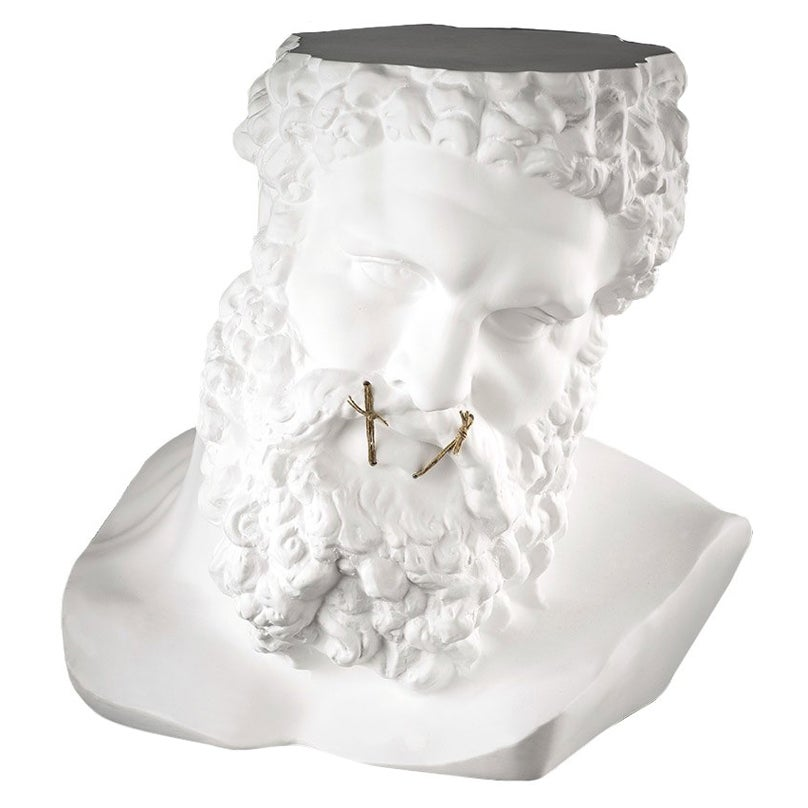 """Bust Ercole """"Don't Speak"""", Small Table, Sculpture, in Matte White Ceramic, Italy"""