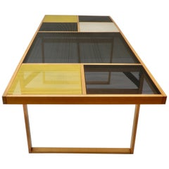 Continental Metal Perforated Black Table, Late 1960s