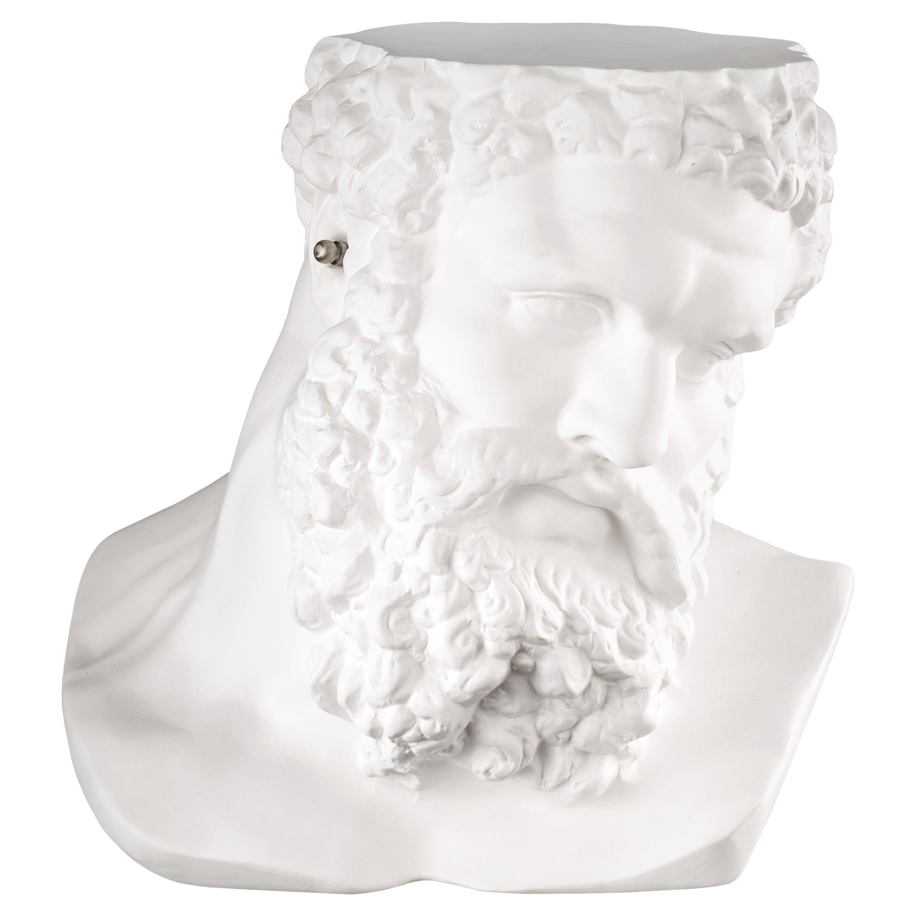 """Bust Ercole """"Don't Hear"""", Small Table, Sculpture, in Matte White Ceramic, Italy"""