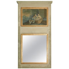 Antique Lacquered Wood Mirror with Painting, Goldened, Early 1800s, Italy