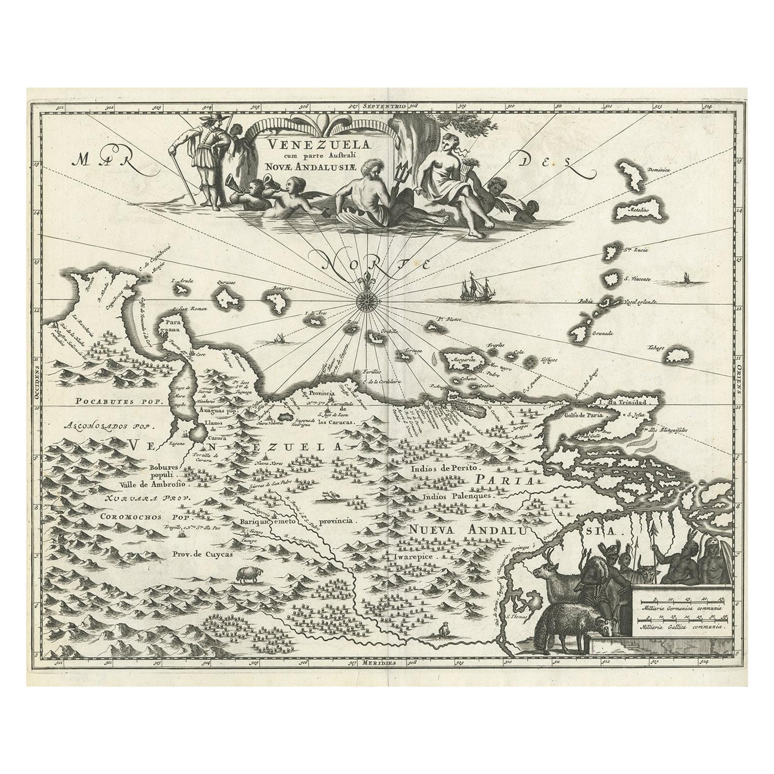 Antique Map of Venezuela by Montanus, 1671