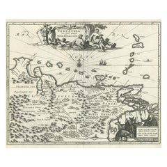 Antique Map of Venezuela by Montanus, 1671