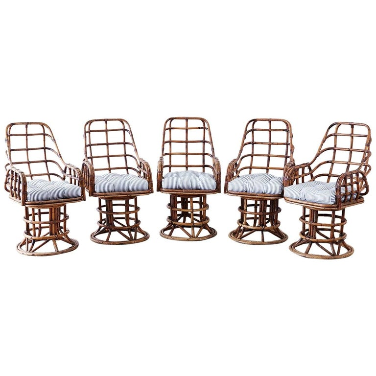 Franco Albini Style Bamboo Rattan Swivel Lounge Chairs For Sale