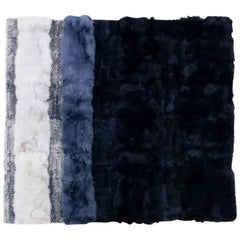 """Dyed Fox and Mink Fur Blue and Silver Rug, """"Ocean Waves"""""""