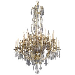Large Louis XV Style Cut-Glass Thirty-Light Cage Chandelier, circa 1870