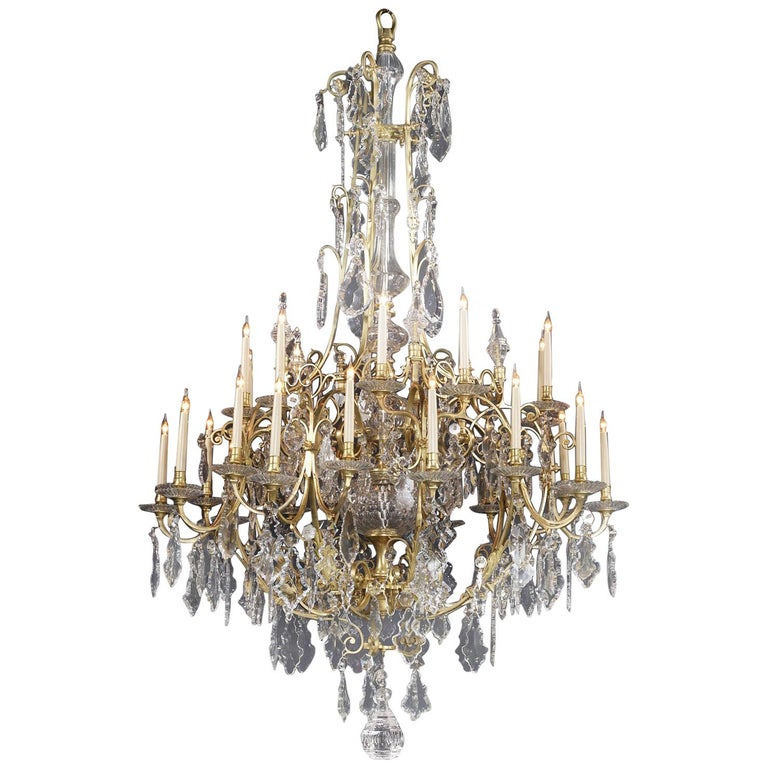 Large Louis XV Style Cut-Glass Thirty-Light Cage Chandelier, circa 1870 For Sale