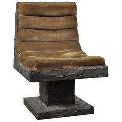 Paul Evans Bronze Resin over Wood, Lounge Chair for Paul Evans Studio, 1969