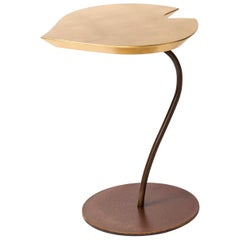 Small Table Leaf in Wood, Top in Golden Leaf, Base in Metal Corten Finish, Italy