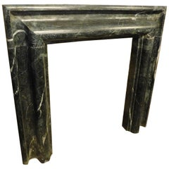 """Antique Fireplace in """"Verde Alpi"""" Marble, Salvator Rosa, Late 19th Century Italy"""