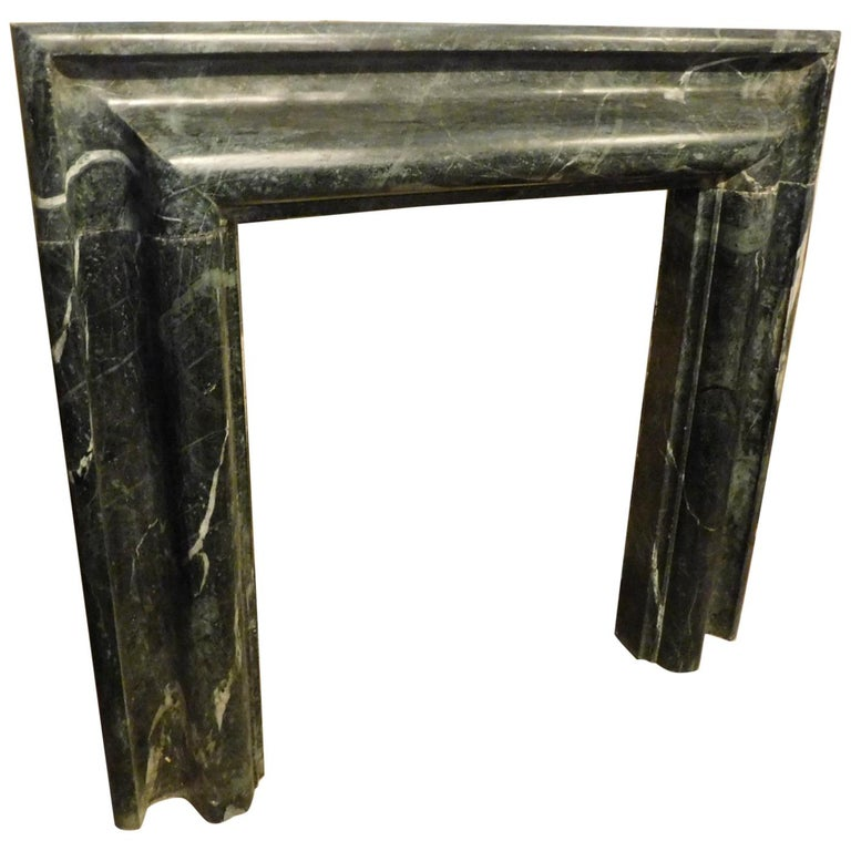 """Antique Fireplace in """"Verde Alpi"""" Marble, Salvator Rosa, Late 19th Century Italy For Sale"""