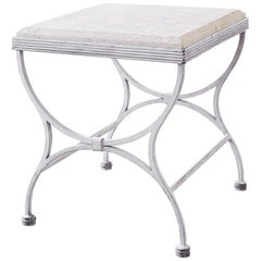 Iron and Stone Patio Garden Drinks Table