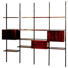Osvaldo Borsani Midcentury Rosewood and Black Iron E22 Bookcase for Tecno, 1960
