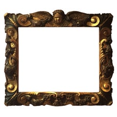 Rare Partly Gilt Carved Wood Sansovino Frame