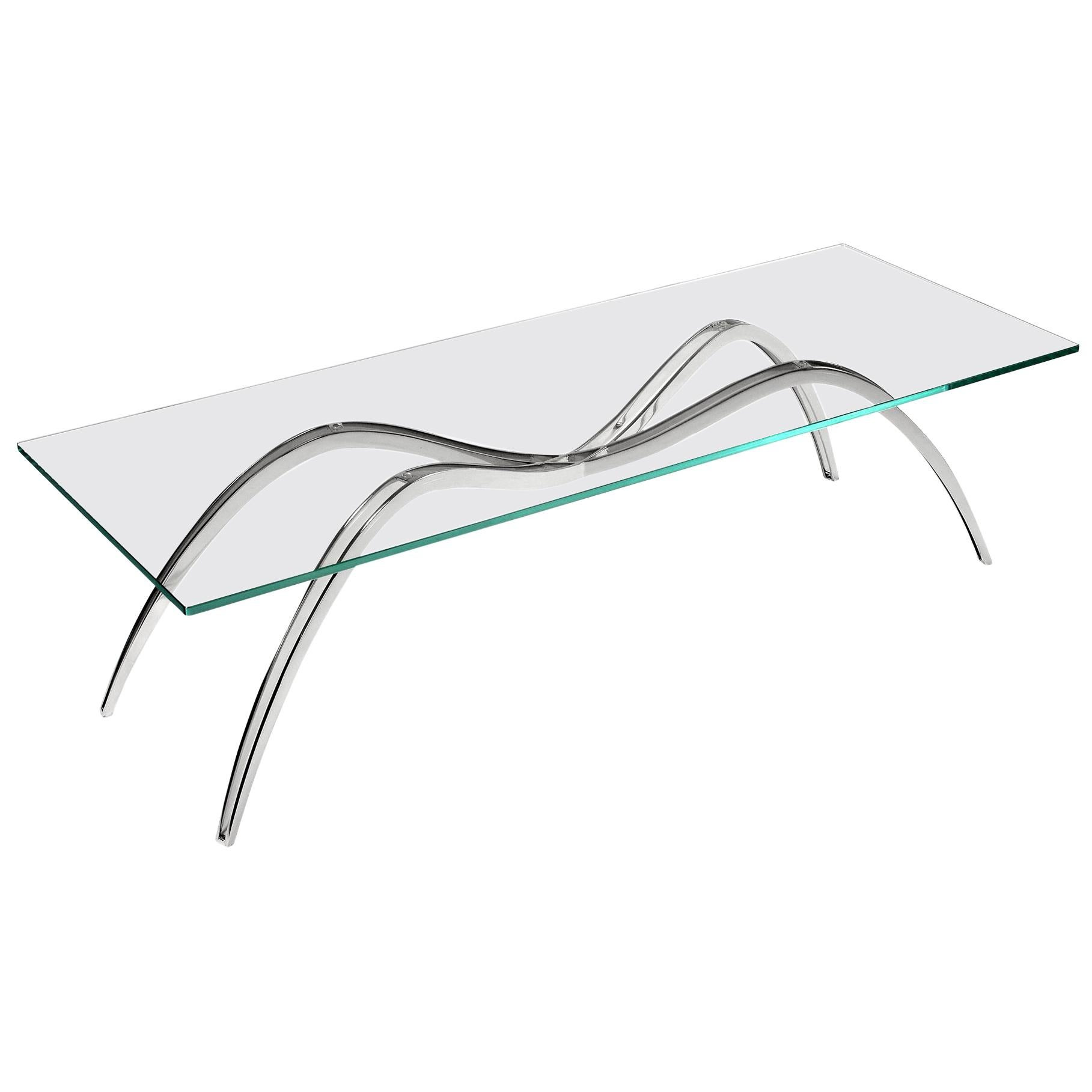 Coffee Table Rectangular Steel Glass Crystal Italian Contemporary Design